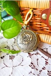 Retro Rose Pocket Watch Pendant Necklace #Chicwish