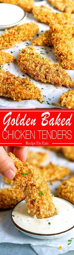 Crunchy Baked Breaded Chicken Tenders   Made this for the family the other night, INSANELY delicious!!!! And NO MESSY FINGERS!