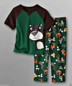 Joe Boxer Baby Boy's Spring 2 Pc Set PJ's Graphic Bear/Forest Friends - Sz 12mo - $11.49 #FreeShipping