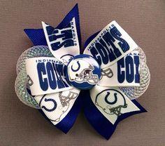 Indianapolis Colts pinwheel hair bow  on Etsy, $8.00