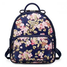 Dark Blue Backpack With Cute Printed Flowers