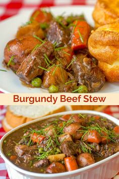 Burgundy Beef Stew. A stick to your ribs, slow cooked, comfort food stew with a rich gravy made even more flavourful with added beef stock and burgundy wine. #sundaydinner #beef #beefstewrecipes #beefstew #frenchcooking #comfortfood #bestbeefrecipes
