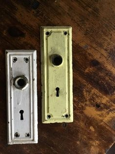 Antique Door Plates With Keyholes Pair | Etsy