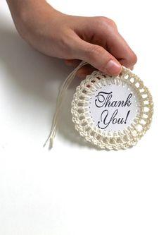 THANK YOU Gift Tags NEUTRAL Handmade Crochet by creativecarmelina