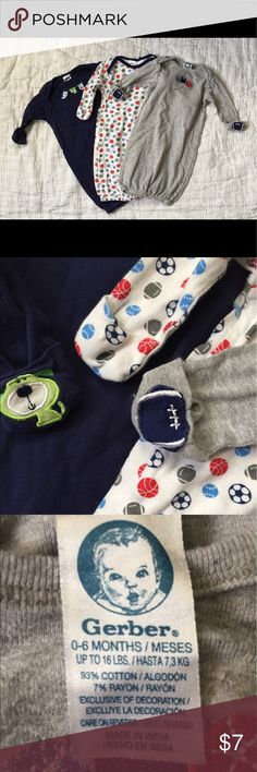 Gerber set of 3 boy's gowns 0-6 mo Gerber set of 3 boy's gowns 0-6 mo. Has little mittens attached, so no scratching! Perfect for those middle of the night changes! #gerber #gerberbaby #babyclothes #babygowns Gerber Pajamas Nightgowns