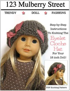 Eyelet Cloche Hat Knitting Pattern for 18 inch American Girl Dolls - www.pixiefaire.com
