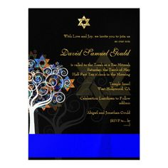 PixDezines tree of life+stars, Bar Mitzvah Announcements