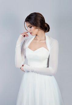 Bruids bolero eenvoudige bruids cover-up lange mouw door MokkaBridal