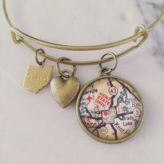 Kent State University Map Charm Bangle Bracelet - Personalized Map Jewelry - Stacked Bangle - Ohio - Midwest - Student - Alumni - Graduation by DaisyMaeDesignsShop on Etsy https://www.etsy.com/listing/279361364/kent-state-university-map-charm-bangle