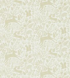 Shop for Wallpaper at Style Library: Kelda by Scion. A delightful woodland scene in a folksy style - complete with baby deer, squirrels, hedgehogs and . Print Wallpaper, Fabric Wallpaper, Wallpaper Roll, Tropical Colors, Baby Deer, Scion, Modern Fabric, Beige, Lights