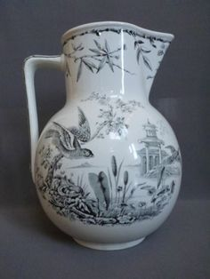 1877 Lg Antique Transferware Ridgeway Indus Pitcher Jug Porcelain Pottery Bird