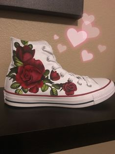 fc161b35d8a97f Sassy sneakers by Julia, SassySneakers_byJulia, Red rose hand painted high top  converse, gift, art on shoes, beautiful sneakers, DIY, women and teens ...