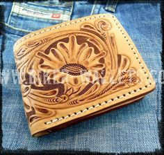 """The West Natural"" 4"" Custom Handmade Leather Biker Wallet"