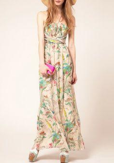 Multicolor Floral Top Fascia Floor Length Polyester Dress