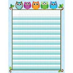 Carson Dellosa Colorful Owls Incentive Charts Let these whimsical, multicolored owls motivate students in achieving their goals! Students will look forward to tracking progress and reaching goals with this playful Colorful Owls Mini Incentive Chart! Attendance Chart, Incentive Charts, Attendance Sheets, Rewards Chart, Owl Theme Classroom, Chevron Classroom, Birthday Charts, Sticker Chart, Goal Charts