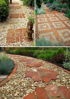 Backyard Garden Stone Put great red bricks over a gravel path. Lay a Stepping Stones and Path Combo to Update Your Landscape.Backyard Garden Stone Put great red bricks over a gravel path. Lay a Stepping Stones and Path Combo to Update Your Landscape Stepping Stone Pathway, Stone Paths, Gravel Pathway, Stone Walkways, Brick Pathway, Brick Landscape Edging, Red Brick Pavers, Brick Garden Edging, Brick Yard