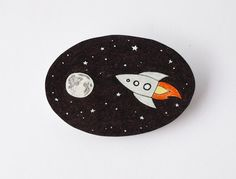 Rocket to the Moon brooch  Made to Order by rareindeed on Etsy, $20.00