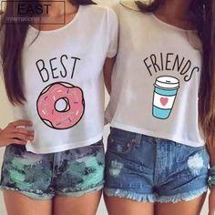 Camiseta Baby Look Blusa Best Friends Friend Kit Com 2 Peças