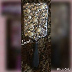 Black with Rhinetones Bling Paddle Brush by GlamGoddessBoutique on Etsy Paddle Brush, Bling, Trending Outfits, Diamond, Unique Jewelry, Bracelets, Handmade Gifts, Sweets, Vintage