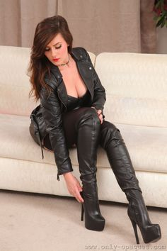 Leather jacket and thigh boots