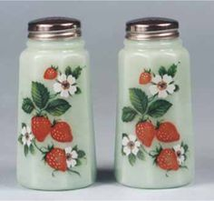 Strawberry Kitchen Decals | Fig. 1 New Jadite shakers, 4¼″ high. Multicolored decal of ...