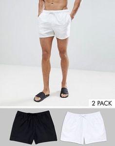 cfa0fcf3ab ASOS DESIGN Swim Shorts 2 Pack In Black & White Short Length Save Swim  Shorts,