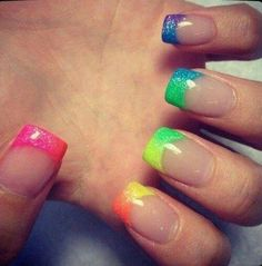 Rainbow nails/ tips find more women fashion ideas on www.misspool.com