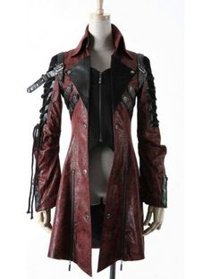 Red and Black Long Sleeves Leather Gothic Trench Coat for Women and Men - Devilnight.co.uk leather gothic jacket