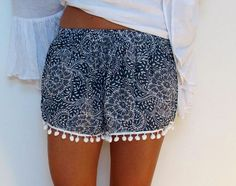 Patterned Pom Pom Shorts (Loose Fit) Navy Print by ljcdesignss Fashion Moda, Look Fashion, Teen Fashion, Fashion Outfits, Womens Fashion, Fashion Shorts, Hippie Style, My Style, Pompom Shorts