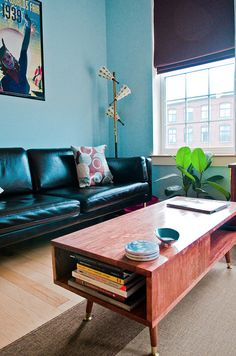 mid-century modern coffee table with book storage