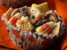 Fall & Halloween Chex® Mix (1/2 Recipe)...Mix up half a batch of goblin munchies when a whole batch is just too scary.