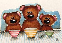 Three little bears - Lucia Stewart My Three Sons, Three Little, Bear Illustration, Cat Mouse, Cute Bears, Digi Stamps, I Fall In Love, Beautiful Babies, Mice