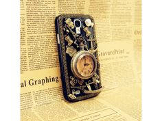 3D Vintage Metal Style + Pocket Watch Samsung Galaxy S4 Case