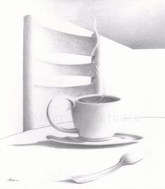 "Giclee Print of original graphite pencil drawing ""Curve of a Line"" by Marty Kiser. For coffee and tea lovers everywhere. See it in our Etsy Store Conceptual Art, Graphite, Pencil Drawings, Etsy Store, Giclee Print, Tea Cups, Curves, Unique Jewelry, Handmade Gifts"