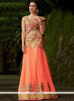 Peach And Beige Net Lehenga Saree