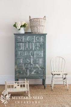 chalkboard highboy – painted w/ MMSMP 2 parts Artissimo to 3 parts Boxwood.