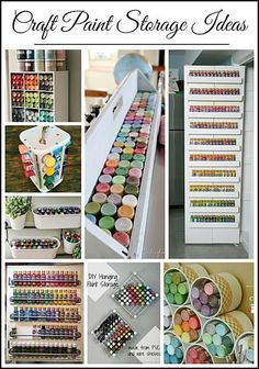 Paint Storage Ideas - Uncommon Designs Ideas for storing craft paint to help you become more organized and save time and money!Ideas for storing craft paint to help you become more organized and save time and money! Craft Paint Storage, Paint Organization, Art Storage, Organization Ideas, Acrylic Paint Storage, Craftroom Storage Ideas, Craft Storage Solutions, Thread Storage, Ikea Storage