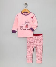 Take a look at this Pink Natural Royalty Organic Long-Sleeve Top & Pants by Kushies on #zulily today!
