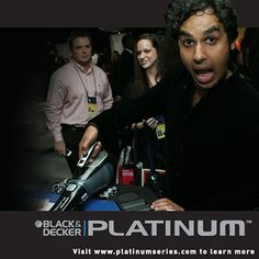Kunal Nayyar from The Big Bang Theory showing off his PLATINUM hand Vac. | Pin it Platinum for a chance to win https://www.facebook.com/BlackDeckerPlatinum/app_378696675553502?ref=ts