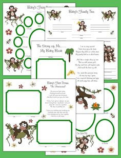 Safari Monkey Baby Premade Scrapbook Pages Layout 12x12 Album Adoption Twin Gift #decampstudios
