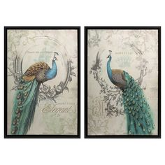 2-piece framed canvas print set with peacock and typographic motifs.  Product: Set of 2 wall artConstruction Material: