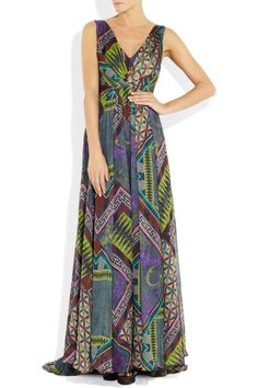 Matthew Williamson   Printed pleated silk-chiffon gown   NET-A-PORTER.COM
