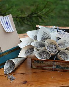 Toss lavender instead of rice! Smells wonderful, looks pretty, and is earth friendly! Cones are made from book pages.