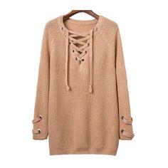 SheIn(sheinside) Khaki Eyelet Lace Up V Neck Knit Dress (1.940 RUB) ❤ liked on Polyvore featuring dresses, khaki, long sleeve dress, knit sweater dress, short dresses, red dress and red shift dress
