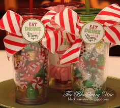 "Cute gift card wrapping idea for Christmas   Put the restaurant gift card inside the tervis cup or mug and print the tag ""eat drink be merry"""