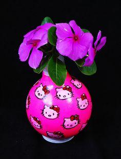 Hello Kitty Light Bulb Photo Holder/Flower Vase. $14.00, via Etsy.