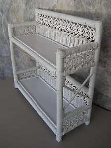 White wicker shelves