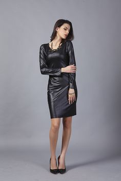 VA Plus Size Woman OL Dress Female O-Neck Imitation Leather Long Sleeve Black Casual Dress Womens Vestidos Ropa Mujer P00407