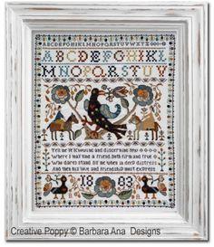 Barbara Ana Designs - Portuguese Bird Sampler (cross stitch pattern) Cross Stitch Bird, Cross Stitch Samplers, Counted Cross Stitch Patterns, Cross Stitch Charts, Cross Stitching, Cross Stitch Embroidery, Learn Embroidery, Embroidery Patterns, Bird Stand