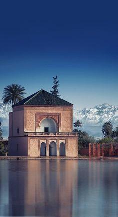 The Menara gardens (Arabic: حدائق المنارة) are botanical gardens located to the west of Marrakech, Morocco, near the Atlas Mountains. Morroco Marrakech, Marrakech Travel, Morocco Travel, Visit Morocco, Morocco Destinations, Travel Destinations, Cool Places To Visit, Places To Travel, San Francisco Travel